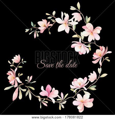 wreath of flowers in watercolor style with black background