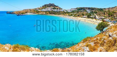 Panorama scenic Rhodes island, Lindos bay Greece