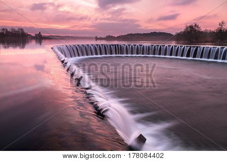 Lippesee dam-View over a Lippesee with dam Paderborn, North Rhine-Westphalia, Germany