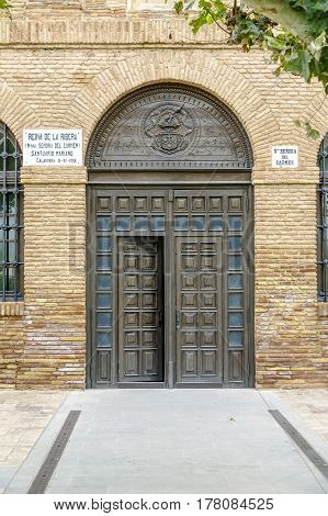 Door entrance to the Marian Shrine of Our Lady of Carmen in Calahorra La Rioja Spain