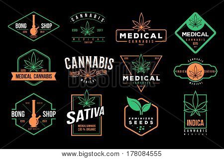 medical cannabis retro logo, label set template vector