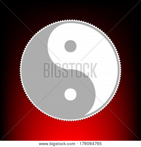 Ying yang symbol of harmony and balance. Postage stamp or old photo style on red-black gradient background.