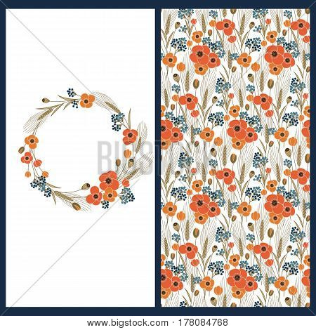 vector set with a card with floral circle frame and seamless vector floral pattern with poppies