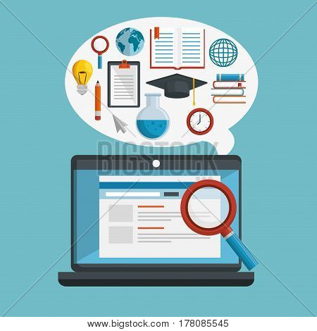 education online concept icons vector illustration design