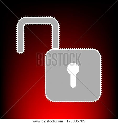 Unlock sign illustration. Postage stamp or old photo style on red-black gradient background.