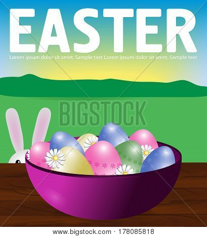 Poster Easter eggs in a plate on a wooden table. Bunny peeps. Background field sky and sun. Vector illustration.