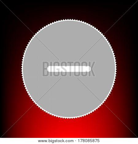 Negative symbol illustration. Minus sign. Postage stamp or old photo style on red-black gradient background.