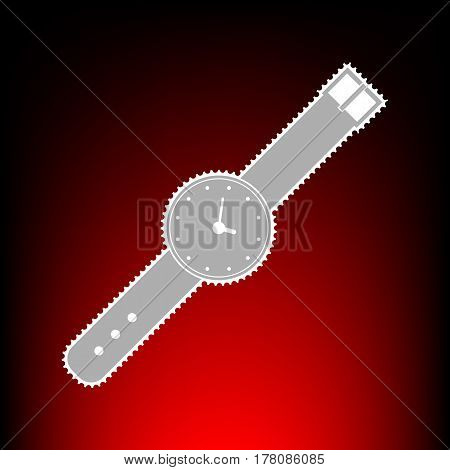 Watch sign illustration. Postage stamp or old photo style on red-black gradient background.