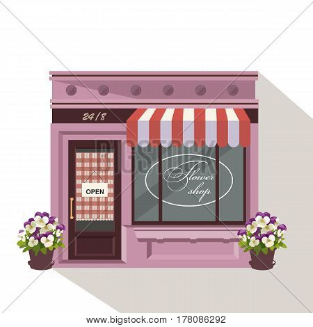 Illustration Of A Flowers Shop. Little Cute Retro House And Store, Boutique With Green Awning. Flora