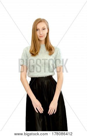 Image of a beautiful young girl in a blue blouse