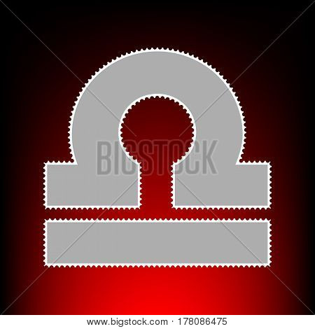 Libra sign illustration. Postage stamp or old photo style on red-black gradient background.