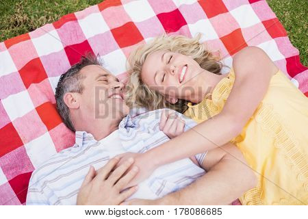 Happy couple hugging on a blanket on the grass