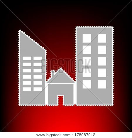 Real estate sign. Postage stamp or old photo style on red-black gradient background.