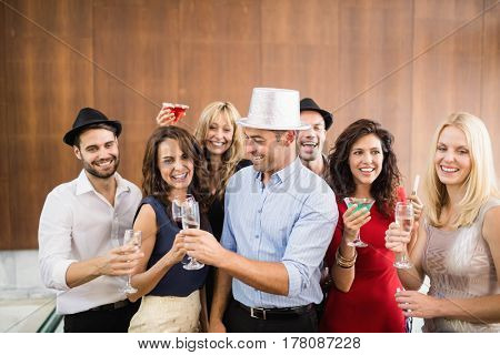 Group of friends having fun at the party