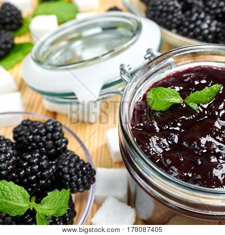 Blackberry jam in a jar. Homemade fruit jam