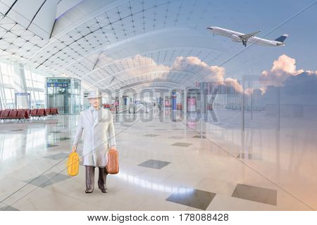 Close up of Miniature businessman and tourist people in national airport on white background.Elegant Design with copy space for placement your text mock up for business and travel concept