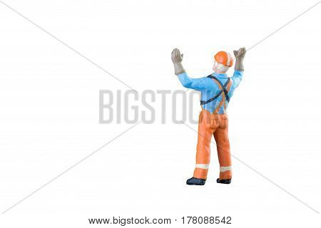 Miniature People Engineer And Worker Occupation Isolated With Clipping Paht On White Background. Ele