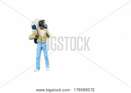 Close Up Of Miniature Backpacker And Tourist People Isolated With Clipping Paht On White Background.