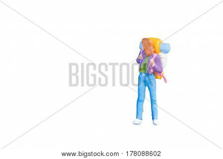 Close up of Miniature backpacker and tourist people isolated with clipping paht on white background.Elegant Design with copy space for placement your text mock up for travel concept