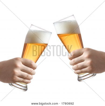 Two People Holding A Beer Glass