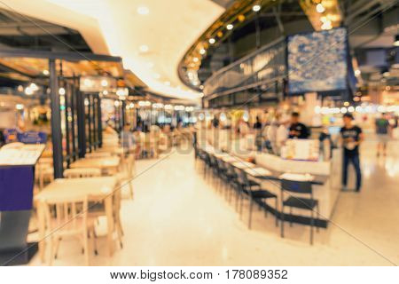 Food court in department store Blur scene background.