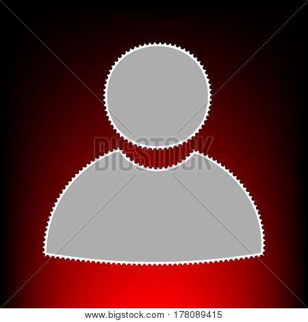 User sign illustration. Postage stamp or old photo style on red-black gradient background.