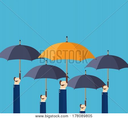 Uniqueness and individuality. Difference concept. Man holding a orange umbrella among people with black umbrellas. Vector illustration in flat style