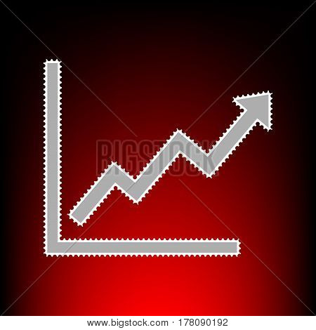 Growing bars graphic sign. Postage stamp or old photo style on red-black gradient background.