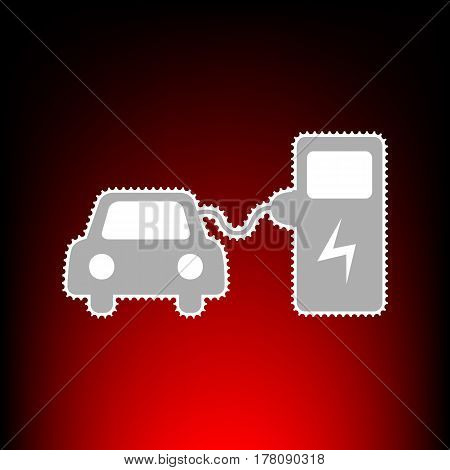 Electric car battery charging sign. Postage stamp or old photo style on red-black gradient background.
