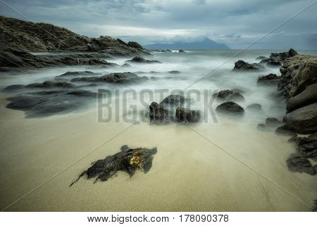 Rocks bathed in the sea on Sarti