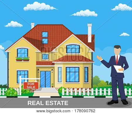 Real estate broker at work. Real estate agent, house building, property home, realtor and rent, sale housing, buy apartment. Vector illustration in flat style
