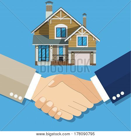 Cartoon, Businessman handshake Deal purchase home. . Vector illustration in flat style