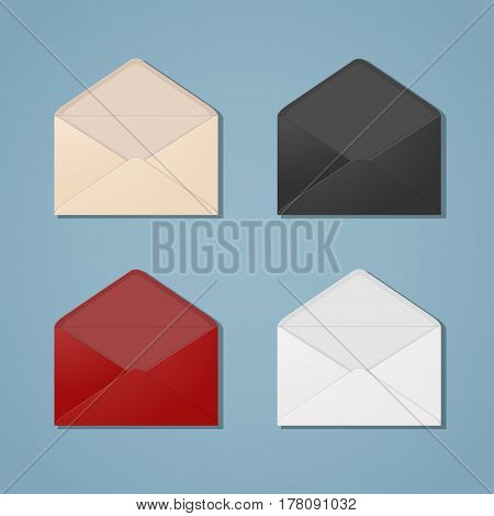 An open multi colored envelopes with a strip of glue for communication between people or businesses. They can put any of your correspondence postcard letters or notes in envelope. Set of envelope.