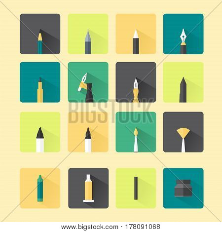 icon flat, stationary, drawing tools, writing tools, artist tools, vector illustration