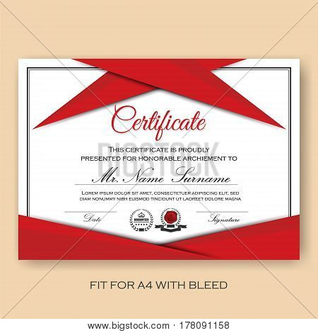 Modern Verified Certificate Background Template with Red Color Scheme. Vector illustration