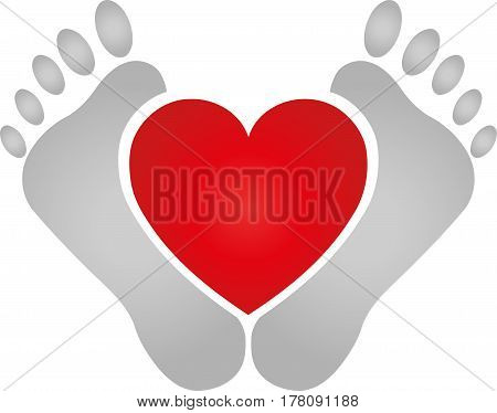 Two feet and heart, physiotherapy and foot care logo