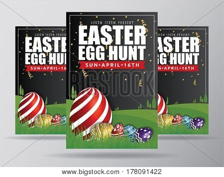 Easter Egg Hunt Flyer Template Design. Easter Egg Background with Big Painting Egg on Grass. Fit for 4x6 inches media. Vector illustration