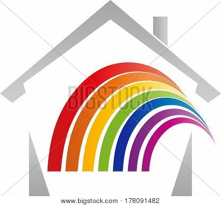 House and rainbow, real estate and painter logo