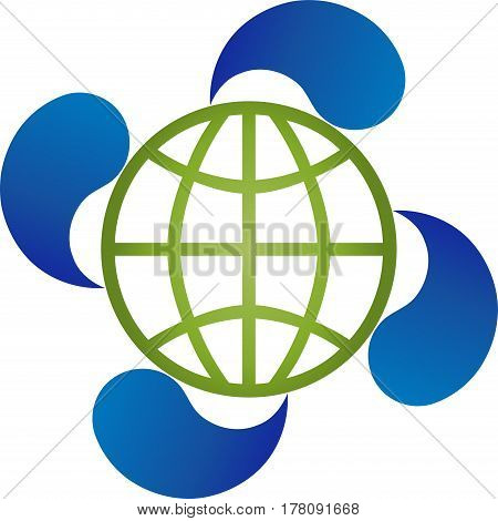 Earth ball and four drops, eco and recycling logo