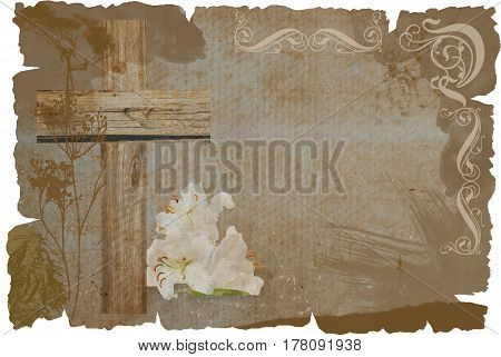 Cross And Lily On Grunge Background