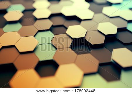 Abstract 3d rendering of futuristic surface with hexagons. Contemporary sci-fi background with bokeh effect. Poster design.