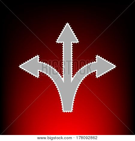 Three-way direction arrow sign. Postage stamp or old photo style on red-black gradient background.