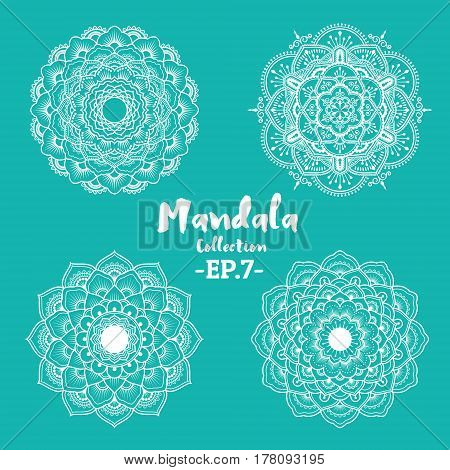 Set of mandala decorative and ornamental design for coloring page and tattoo. Vector illustration