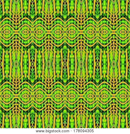 Abstract geometric seamless background, netting. Regular ellipses and stripes pattern in orange, yellow green, lemon lime green and dark green shades with black outlines, ornate and extensive.