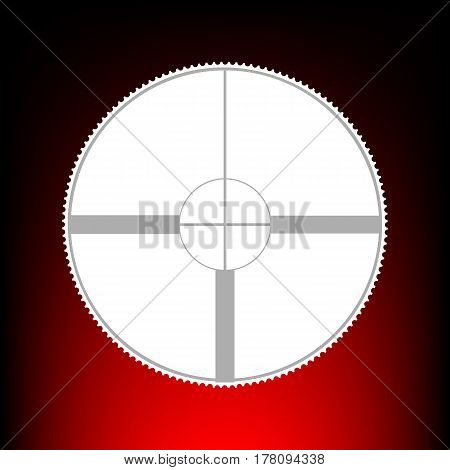 Sight sign illustration. Postage stamp or old photo style on red-black gradient background.