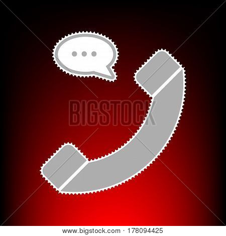 Phone with speech bubble sign. Postage stamp or old photo style on red-black gradient background.