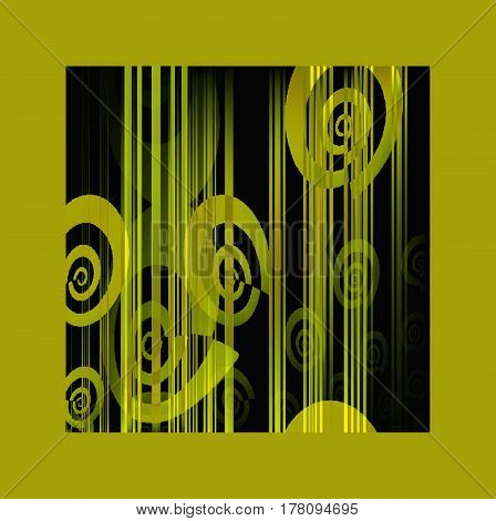 Abstract geometric background. Spiral and stripes pattern in olive green shades on black overlaying and blurred, framed olive green.