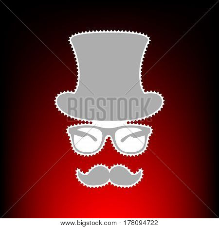 Hipster accessories design. Postage stamp or old photo style on red-black gradient background.