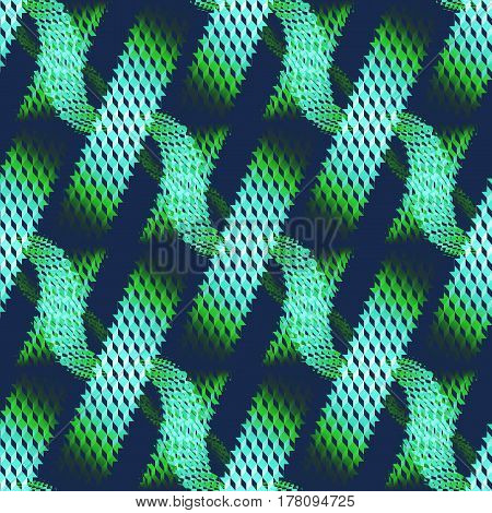 Abstract geometric seamless modern background, dimensional waffle-weave pattern. Regular stripes and wavy lines diagonally in mint green and bright green shades with dark blue.