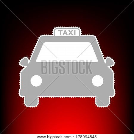 Taxi sign illustration. Postage stamp or old photo style on red-black gradient background.